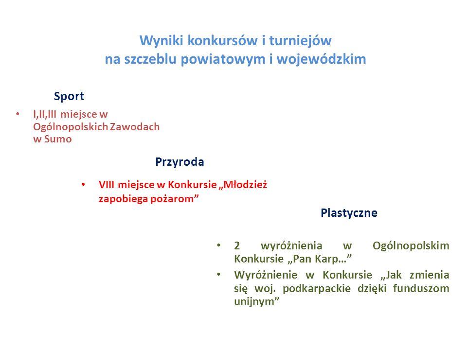 Wyniki konkursów i turniejów na szczeblu powiatowym i wojewódzkim Sport I,II,III miejsce w Ogólnopolskich Zawodach w Sumo Przyroda Plastyczne VIII mie