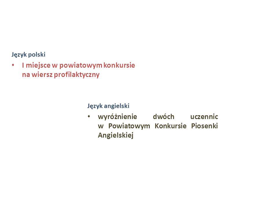 Język polski I miejsce w powiatowym konkursie na wiersz profilaktyczny Język angielski wyróżnienie dwóch uczennic w Powiatowym Konkursie Piosenki Angi