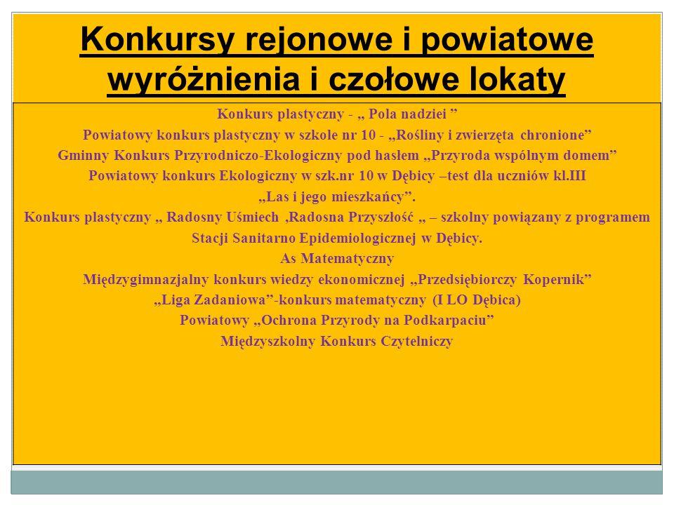 Konkursy rejonowe i powiatowe wyróżnienia i czołowe lokaty Konkurs plastyczny - Pola nadziei Powiatowy konkurs plastyczny w szkole nr 10 - Rośliny i z
