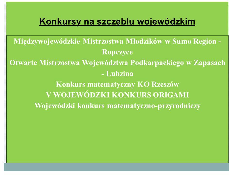 Konkursy na szczeblu wojewódzkim Międzywojewódzkie Mistrzostwa Młodzików w Sumo Region - Ropczyce Otwarte Mistrzostwa Województwa Podkarpackiego w Zap