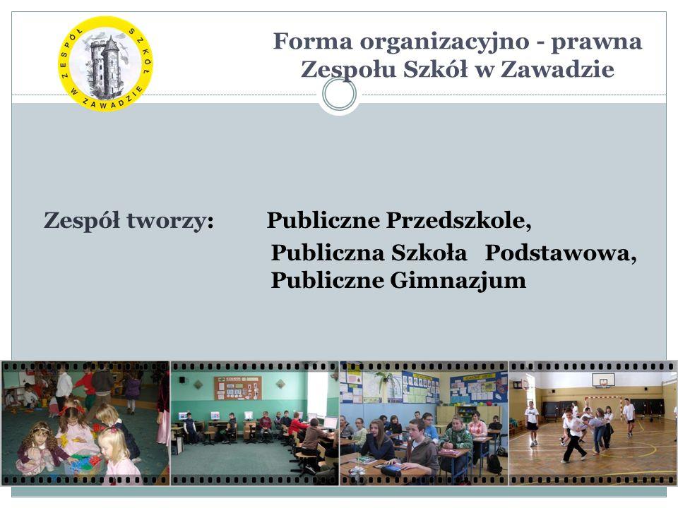 Forma organizacyjno - prawna Zespołu Szkół w Zawadzie Zespół tworzy: Publiczne Przedszkole, Publiczna Szkoła Podstawowa, Publiczne Gimnazjum