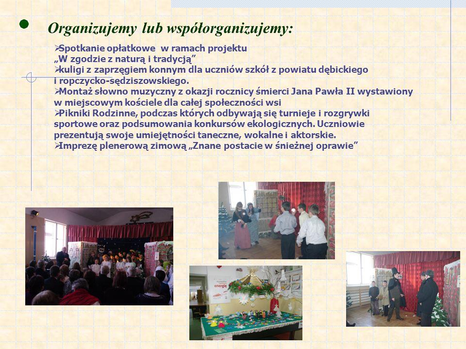 Organizujemy lub współorganizujemy: Spotkanie opłatkowe w ramach projektu W zgodzie z naturą i tradycją kuligi z zaprzęgiem konnym dla uczniów szkół z powiatu dębickiego i ropczycko-sędziszowskiego.