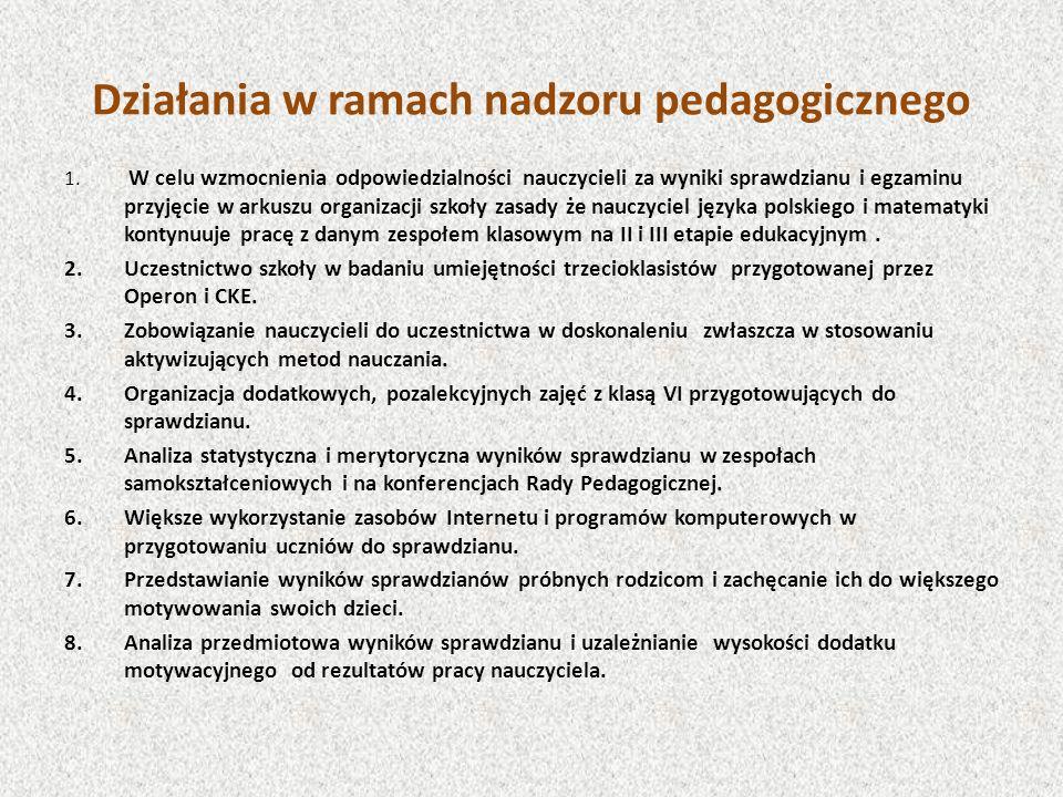 Działania w ramach nadzoru pedagogicznego 1. W celu wzmocnienia odpowiedzialności nauczycieli za wyniki sprawdzianu i egzaminu przyjęcie w arkuszu org
