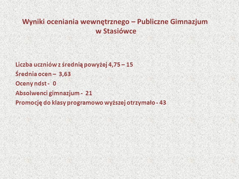 Wyniki oceniania wewnętrznego – Publiczne Gimnazjum w Stasiówce Liczba uczniów z średnią powyżej 4,75 – 15 Średnia ocen – 3,63 Oceny ndst - 0 Absolwen