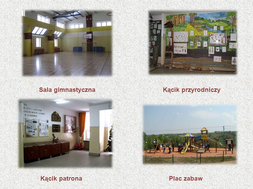 Sala gimnastycznaKącik przyrodniczy Kącik patronaPlac zabaw