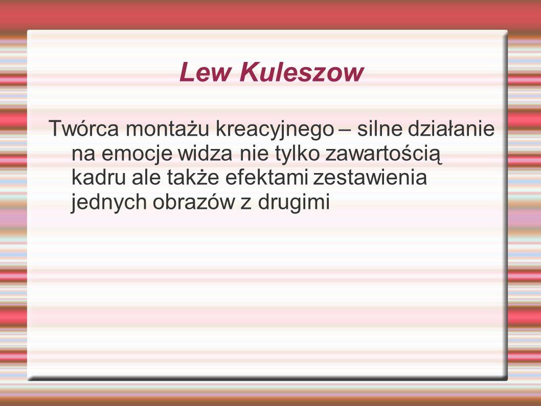 Lew Kuleszow Twórca montażu kreacyjnego – silne działanie na emocje widza nie tylko zawartością kadru ale także efektami zestawienia jednych obrazów z