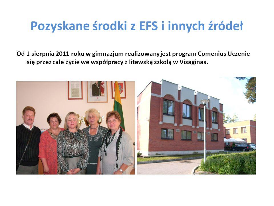 Pozyskane środki z EFS i innych źródeł Od 1 sierpnia 2011 roku w gimnazjum realizowany jest program Comenius Uczenie się przez całe życie we współpracy z litewską szkołą w Visaginas.