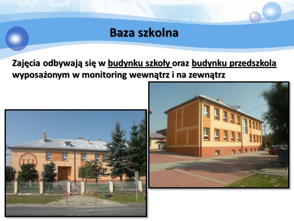 Baza szkolna Zajęcia odbywają się w budynku szkoły oraz budynku przedszkola wyposażonym w monitoring wewnątrz i na zewnątrz