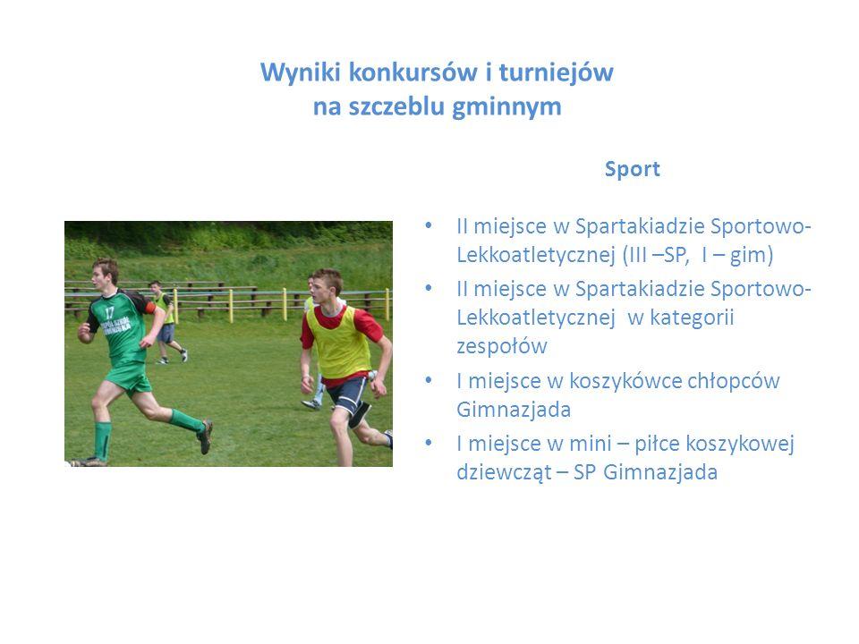 Wyniki konkursów i turniejów na szczeblu gminnym Sport II miejsce w Spartakiadzie Sportowo- Lekkoatletycznej (III –SP, I – gim) II miejsce w Spartakia