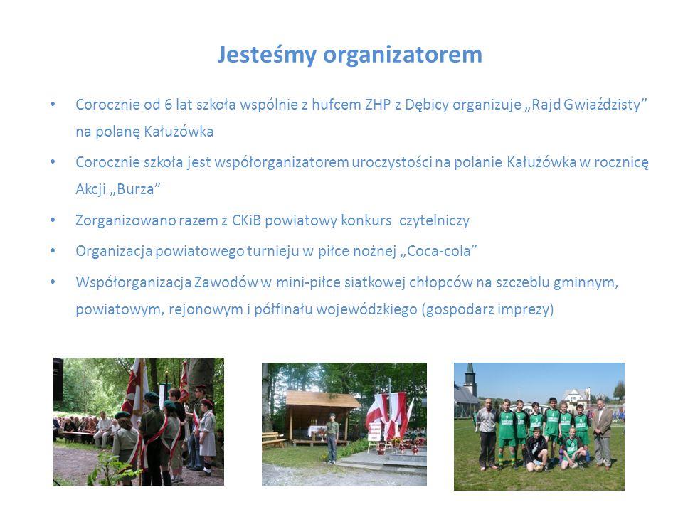 Jesteśmy organizatorem Corocznie od 6 lat szkoła wspólnie z hufcem ZHP z Dębicy organizuje Rajd Gwiaździsty na polanę Kałużówka Corocznie szkoła jest