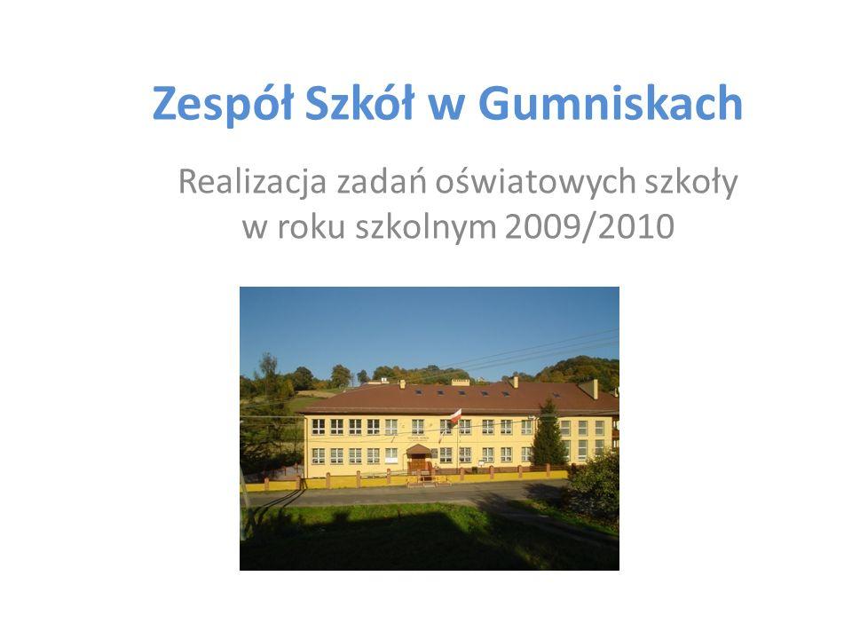 Zespół Szkół w Gumniskach Realizacja zadań oświatowych szkoły w roku szkolnym 2009/2010