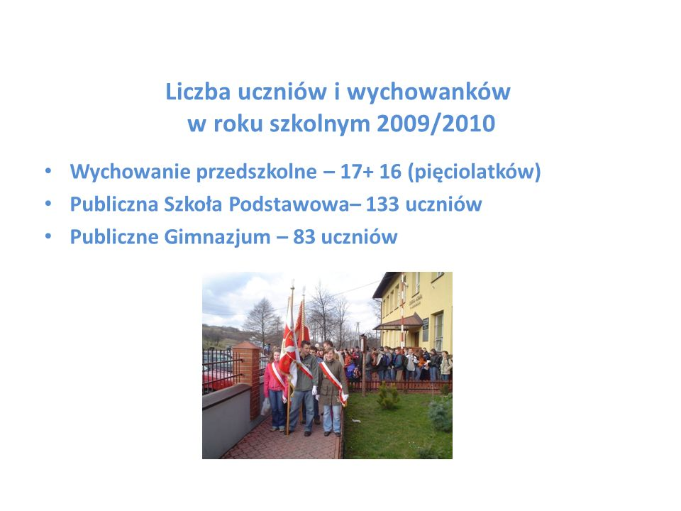 Liczba uczniów i wychowanków w roku szkolnym 2009/2010 Wychowanie przedszkolne – 17+ 16 (pięciolatków) Publiczna Szkoła Podstawowa– 133 uczniów Public