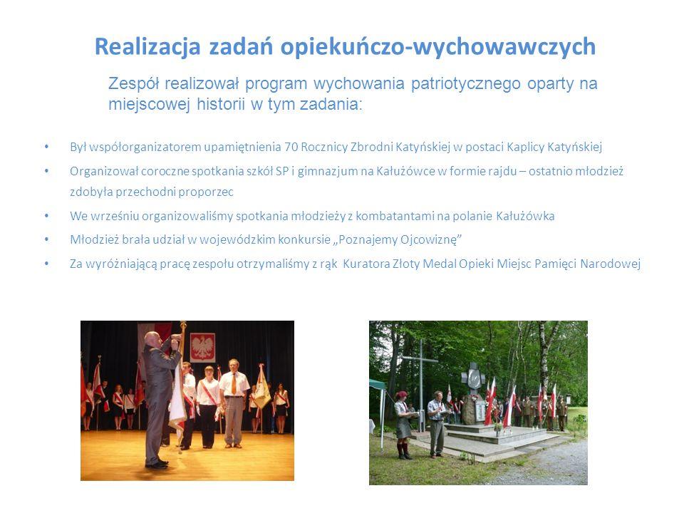 Realizacja zadań opiekuńczo-wychowawczych Był współorganizatorem upamiętnienia 70 Rocznicy Zbrodni Katyńskiej w postaci Kaplicy Katyńskiej Organizował