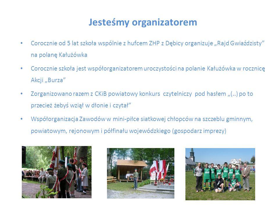 Jesteśmy organizatorem Corocznie od 5 lat szkoła wspólnie z hufcem ZHP z Dębicy organizuje Rajd Gwiaździsty na polanę Kałużówka Corocznie szkoła jest