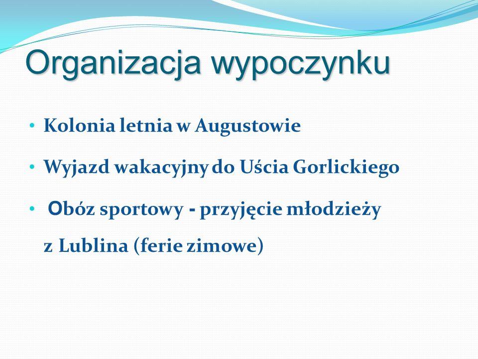 Organizacja wypoczynku Kolonia letnia w Augustowie Wyjazd wakacyjny do Uścia Gorlickiego O bóz sportowy - przyjęcie młodzieży z Lublina (ferie zimowe)