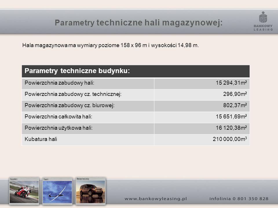 Parametry techniczne hali magazynowej: Hala magazynowa ma wymiary poziome 158 x 96 m i wysokości 14,98 m.