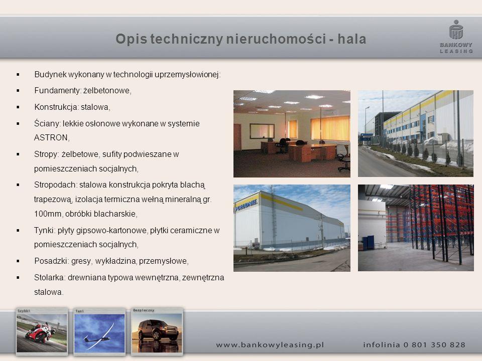Opis techniczny nieruchomości - hala Budynek wykonany w technologii uprzemysłowionej: Fundamenty: żelbetonowe, Konstrukcja: stalowa, Ściany: lekkie os