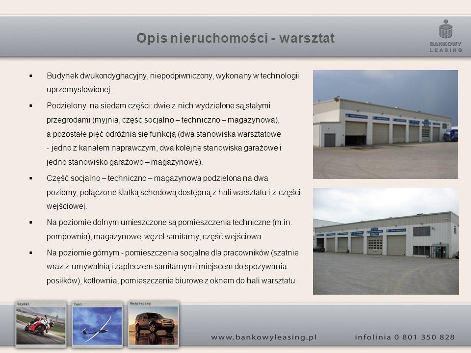 Opis nieruchomości - warsztat Budynek dwukondygnacyjny, niepodpiwniczony, wykonany w technologii uprzemysłowionej. Podzielony na siedem części: dwie z