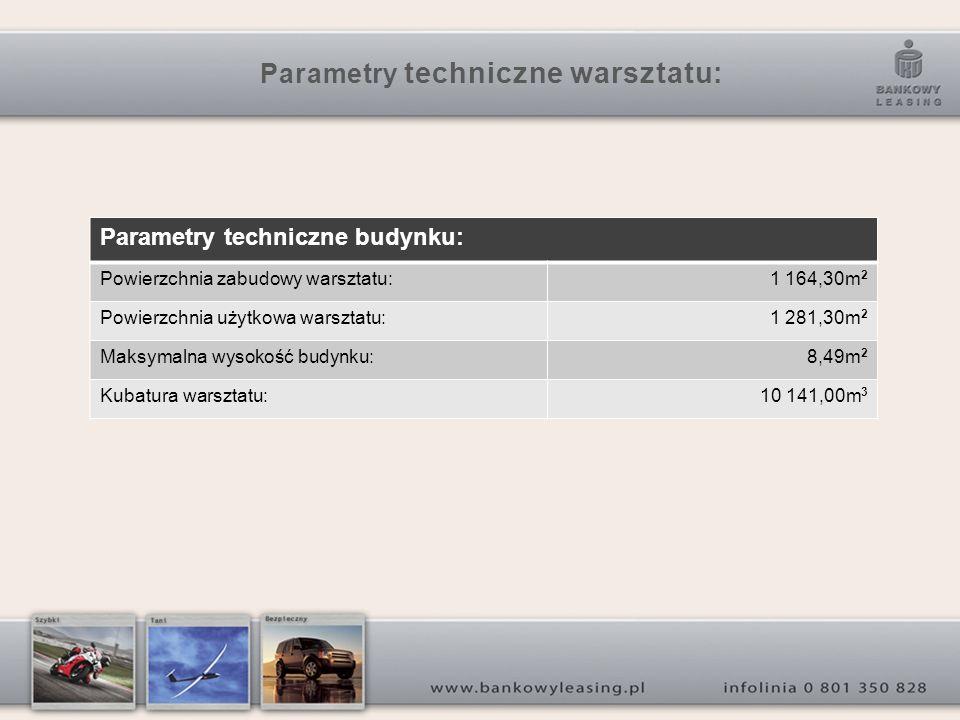 Parametry techniczne warsztatu: Parametry techniczne budynku: Powierzchnia zabudowy warsztatu:1 164,30m 2 Powierzchnia użytkowa warsztatu:1 281,30m 2 Maksymalna wysokość budynku:8,49m 2 Kubatura warsztatu:10 141,00m 3