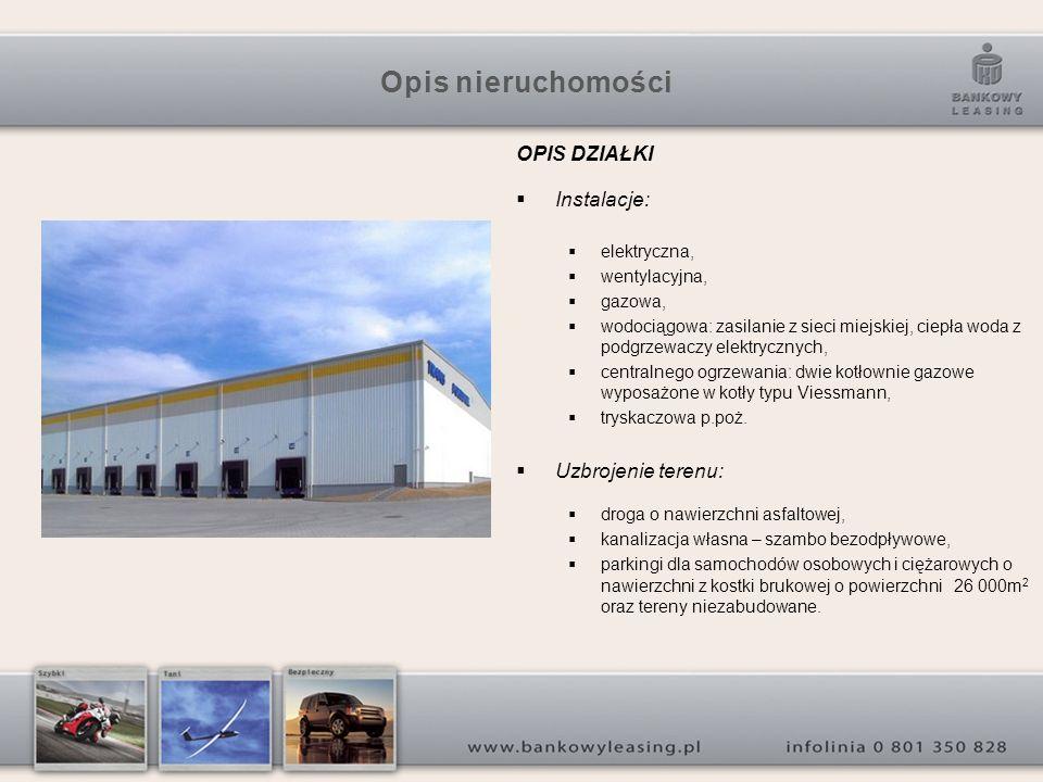 Opis nieruchomości OPIS DZIAŁKI Instalacje: elektryczna, wentylacyjna, gazowa, wodociągowa: zasilanie z sieci miejskiej, ciepła woda z podgrzewaczy el