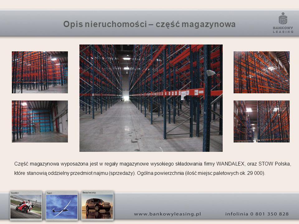 Opis nieruchomości – część magazynowa Część magazynowa wyposażona jest w regały magazynowe wysokiego składowania firmy WANDALEX, oraz STOW Polska, które stanowią oddzielny przedmiot najmu (sprzedaży).