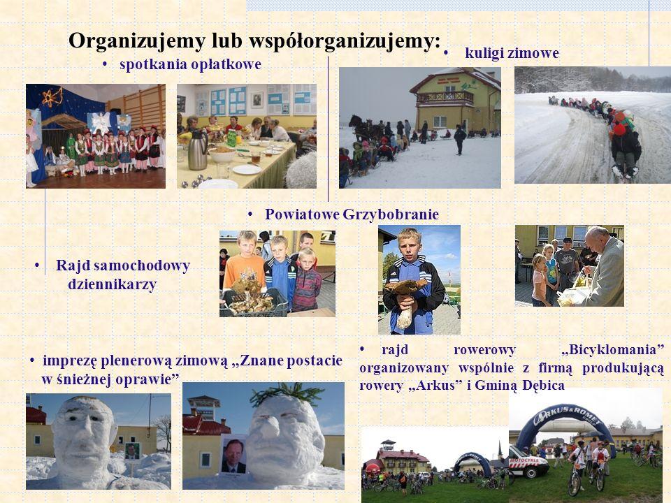Organizujemy lub współorganizujemy: spotkania opłatkowe Rajd samochodowy dziennikarzy kuligi zimowe Powiatowe Grzybobranie imprezę plenerową zimową Zn