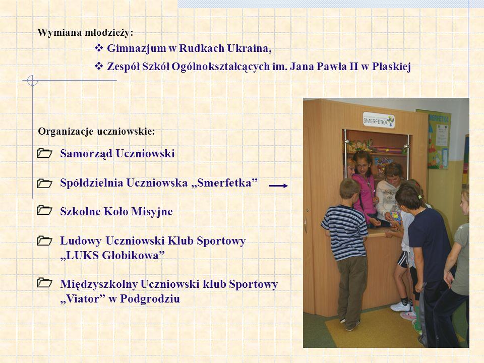 Wymiana młodzieży: Gimnazjum w Rudkach Ukraina, Zespół Szkół Ogólnokształcących im. Jana Pawła II w Płaskiej Organizacje uczniowskie: Samorząd Uczniow
