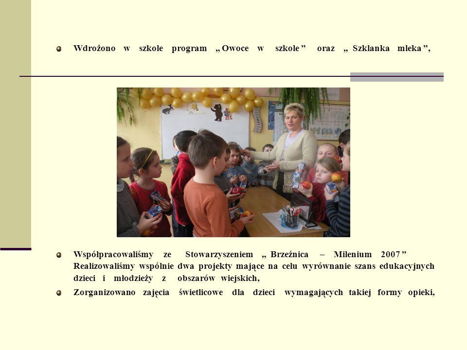 Wdrożono w szkole program Owoce w szkole oraz Szklanka mleka, Współpracowaliśmy ze Stowarzyszeniem Brzeźnica – Milenium 2007 Realizowaliśmy wspólnie d