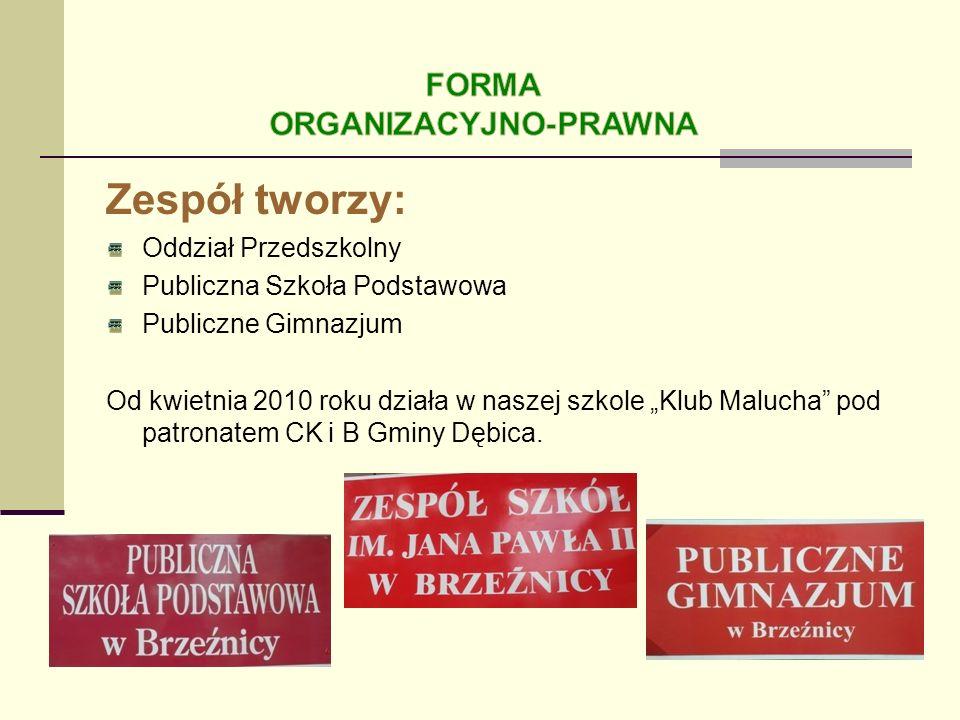 Zespół tworzy: Oddział Przedszkolny Publiczna Szkoła Podstawowa Publiczne Gimnazjum Od kwietnia 2010 roku działa w naszej szkole Klub Malucha pod patr