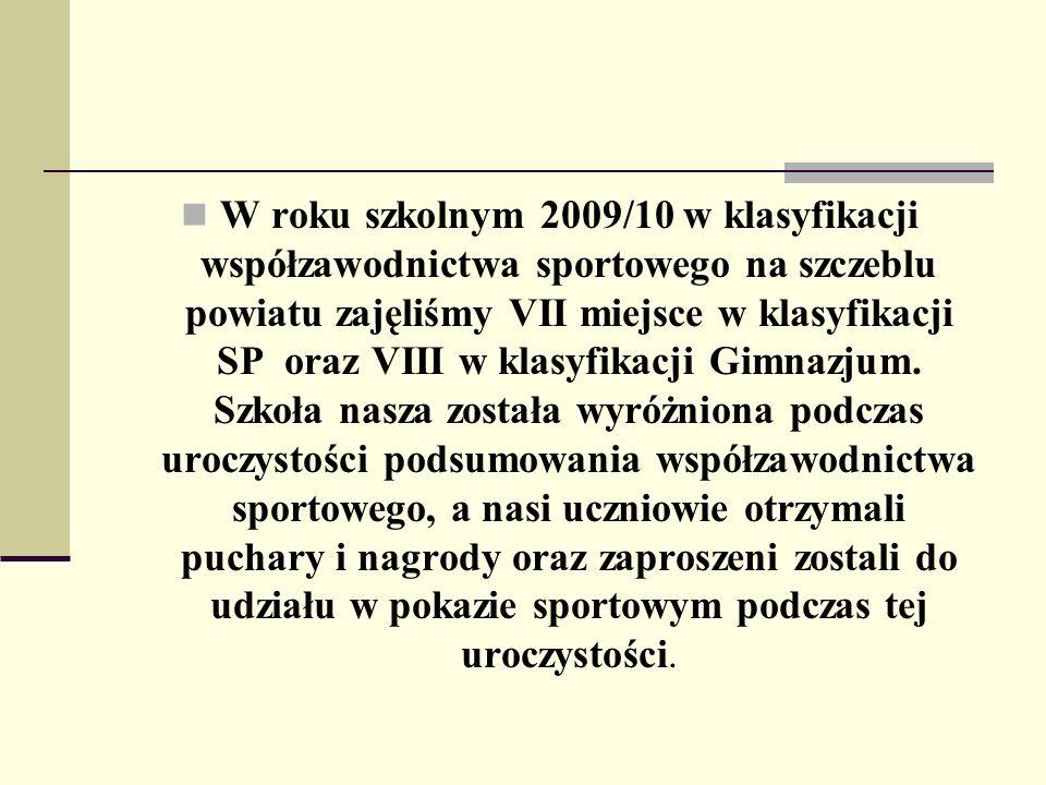 W roku szkolnym 2009/10 w klasyfikacji współzawodnictwa sportowego na szczeblu powiatu zajęliśmy VII miejsce w klasyfikacji SP oraz VIII w klasyfikacj