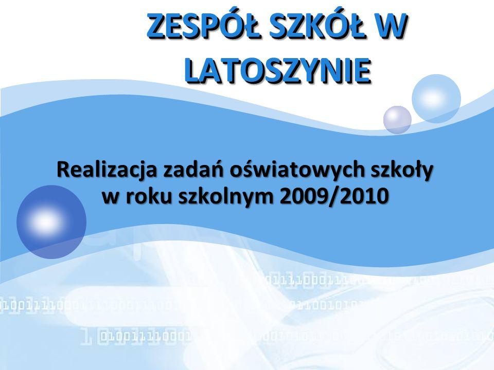 LOGO ZESPÓŁ SZKÓŁ W LATOSZYNIE Realizacja zadań oświatowych szkoły w roku szkolnym 2009/2010