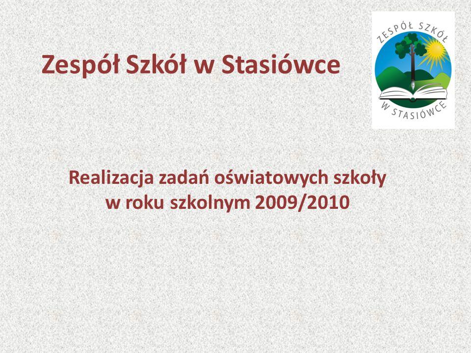 Zespół Szkół w Stasiówce Realizacja zadań oświatowych szkoły w roku szkolnym 2009/2010