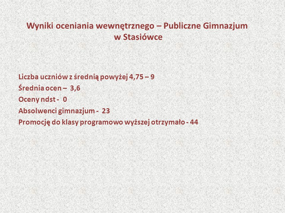 Wyniki oceniania wewnętrznego – Publiczne Gimnazjum w Stasiówce Liczba uczniów z średnią powyżej 4,75 – 9 Średnia ocen – 3,6 Oceny ndst - 0 Absolwenci gimnazjum - 23 Promocję do klasy programowo wyższej otrzymało - 44