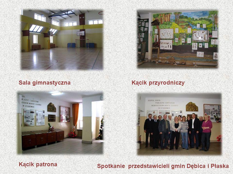 Sala gimnastycznaKącik przyrodniczy Kącik patrona Spotkanie przedstawicieli gmin Dębica i Płaska