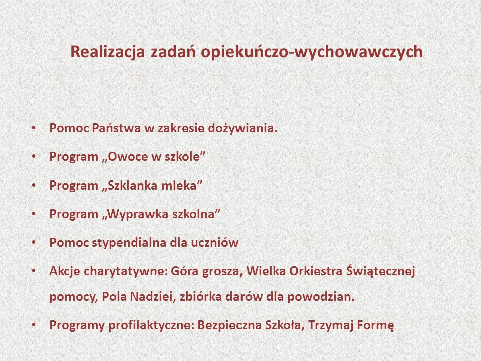 Wyniki konkursów i turniejów Konkursy przedmiotowe i interdyscyplinarne – Kuratorium Oświaty w Rzeszowie 1 finalista konkursu matematyczno-przyrodniczego Uczestnicy: Konkurs humanistyczny – 7 uczniów Konkurs matematyczno-przyrodniczy – 5 uczniów Konkurs polonistyczny – 8 uczniów Konkurs matematyczny – 7 uczniów Konkurs biologiczny – 5 uczniów Konkurs języka angielskiego – 6 uczniów Konkurs historyczny 6 uczniów