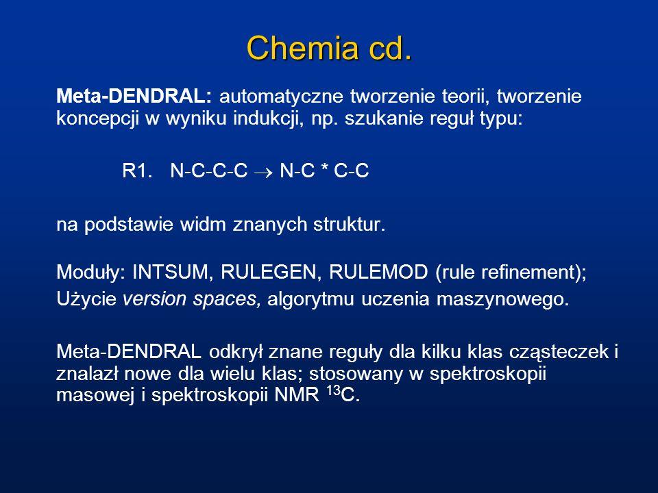 Chemia cd. Meta-DENDRAL: automatyczne tworzenie teorii, tworzenie koncepcji w wyniku indukcji, np. szukanie reguł typu: R1. N-C-C-C N-C * C-C na podst