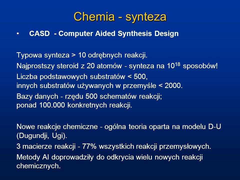 Chemia - synteza CASD - Computer Aided Synthesis Design Typowa synteza > 10 odrębnych reakcji. Najprostszy steroid z 20 atomów - synteza na 10 18 spos