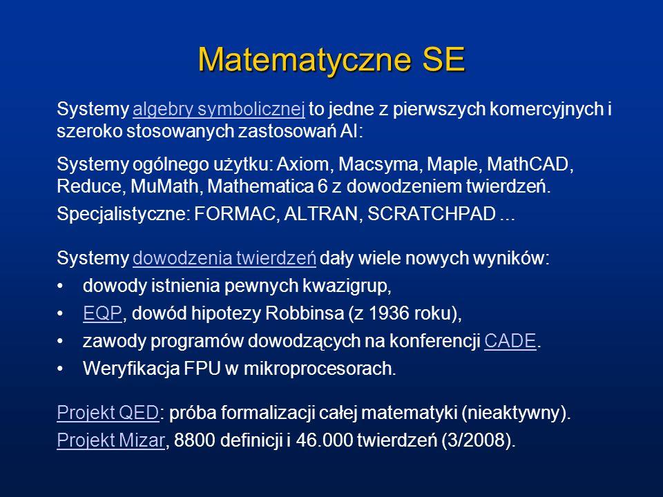 Matematyczne SE Systemy algebry symbolicznej to jedne z pierwszych komercyjnych i szeroko stosowanych zastosowań AI: Systemy ogólnego użytku: Axiom, M