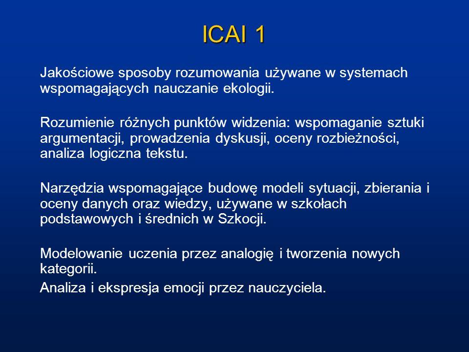 ICAI 1 Jakościowe sposoby rozumowania używane w systemach wspomagających nauczanie ekologii. Rozumienie różnych punktów widzenia: wspomaganie sztuki a