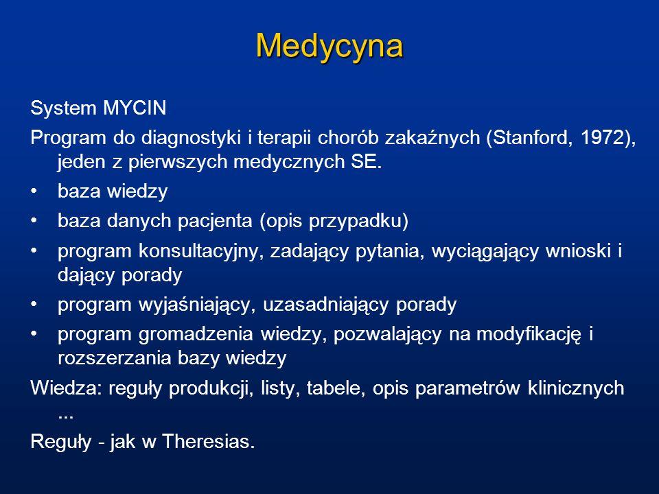 Medycyna System MYCIN Program do diagnostyki i terapii chorób zakaźnych (Stanford, 1972), jeden z pierwszych medycznych SE. baza wiedzy baza danych pa