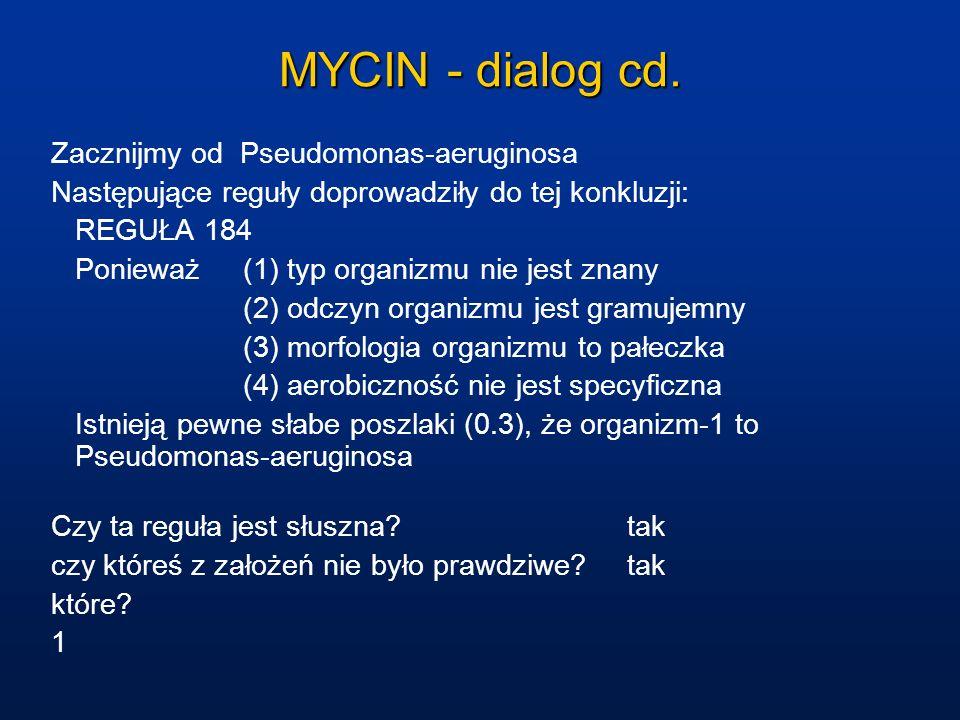MYCIN - dialog cd. Zacznijmy od Pseudomonas-aeruginosa Następujące reguły doprowadziły do tej konkluzji: REGUŁA 184 Ponieważ (1) typ organizmu nie jes