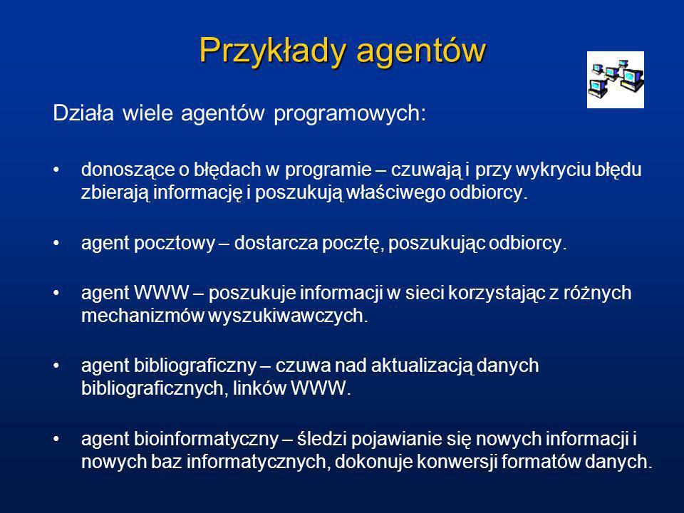 Przykłady agentów Działa wiele agentów programowych: donoszące o błędach w programie – czuwają i przy wykryciu błędu zbierają informację i poszukują w