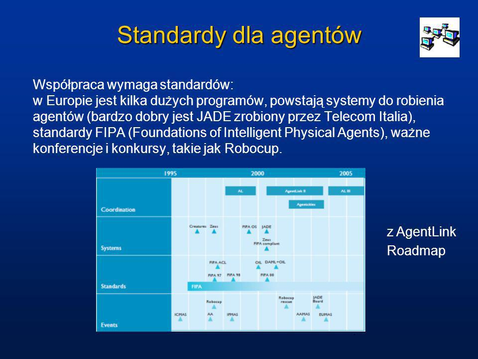 Standardy dla agentów Współpraca wymaga standardów: w Europie jest kilka dużych programów, powstają systemy do robienia agentów (bardzo dobry jest JAD
