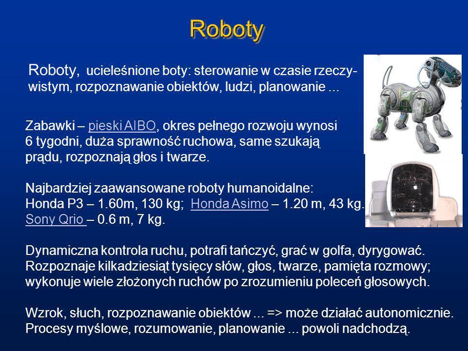 RobotyRoboty Roboty, ucieleśnione boty: sterowanie w czasie rzeczy- wistym, rozpoznawanie obiektów, ludzi, planowanie... Zabawki – pieski AIBO, okres