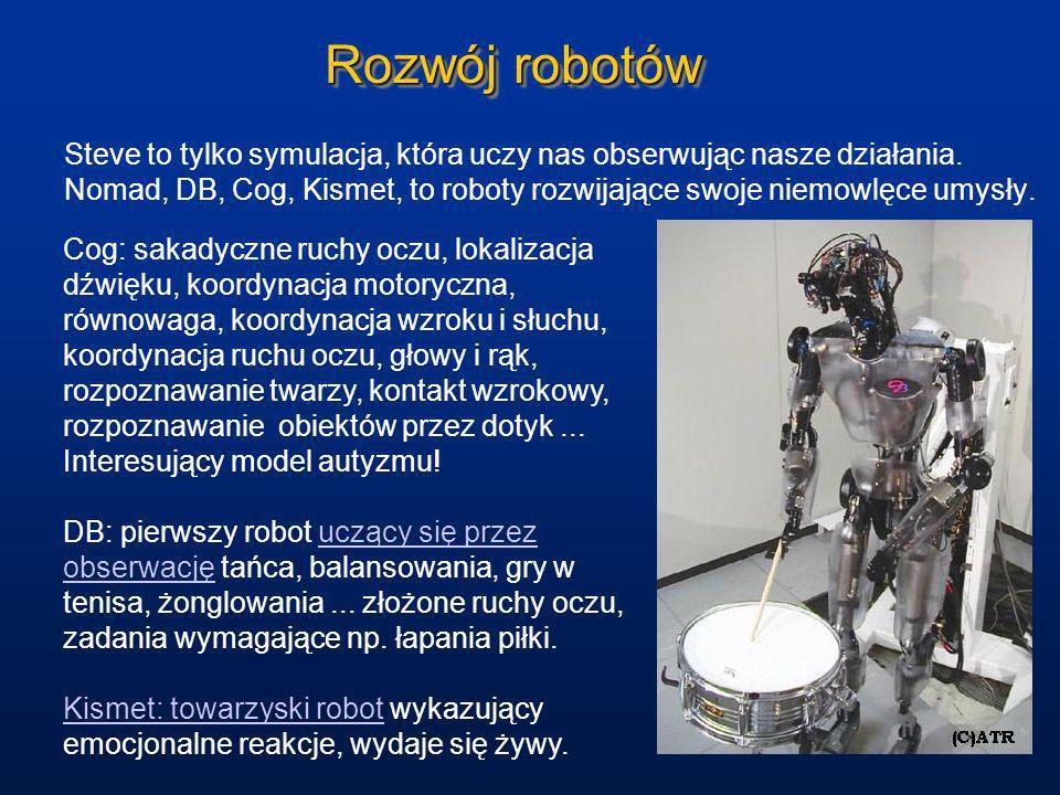 Rozwój robotów Steve to tylko symulacja, która uczy nas obserwując nasze działania. Nomad, DB, Cog, Kismet, to roboty rozwijające swoje niemowlęce umy