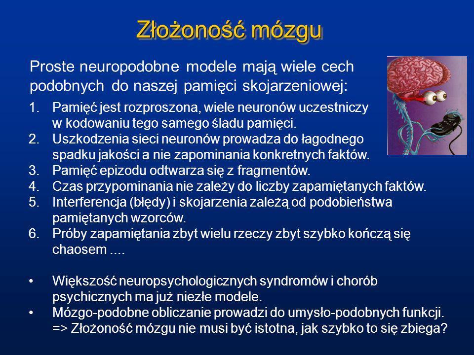 Złożoność mózgu Proste neuropodobne modele mają wiele cech podobnych do naszej pamięci skojarzeniowej: 1.Pamięć jest rozproszona, wiele neuronów uczes