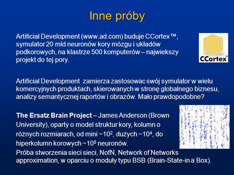 Inne próby Artificial Development (www.ad.com) buduje CCortex, symulator 20 mld neuronów kory mózgu i układów podkorowych, na klastrze 500 komputerów