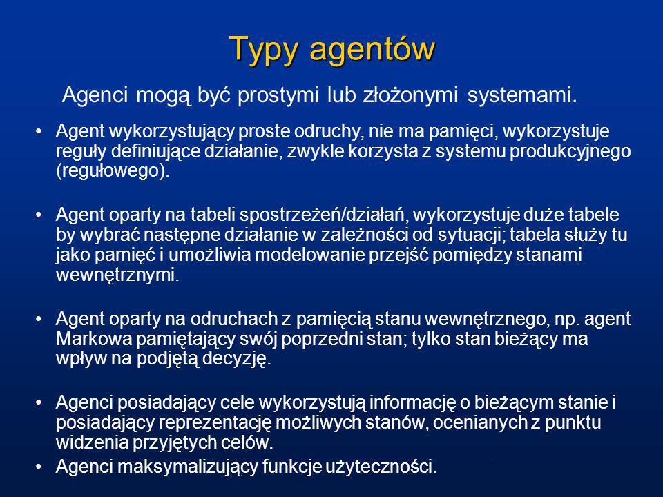 Typy agentów Agenci mogą być prostymi lub złożonymi systemami. Agent wykorzystujący proste odruchy, nie ma pamięci, wykorzystuje reguły definiujące dz