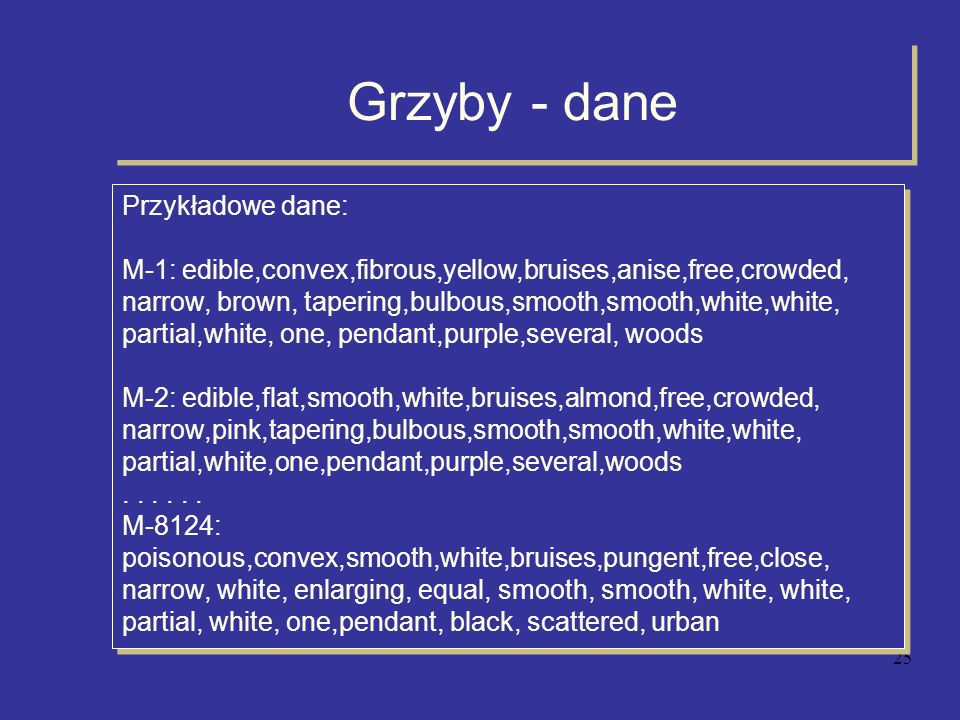25 Grzyby - dane Przykładowe dane: M-1: edible,convex,fibrous,yellow,bruises,anise,free,crowded, narrow, brown, tapering,bulbous,smooth,smooth,white,w