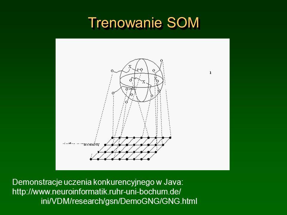Trenowanie SOM Demonstracje uczenia konkurencyjnego w Java: http://www.neuroinformatik.ruhr-uni-bochum.de/ ini/VDM/research/gsn/DemoGNG/GNG.html